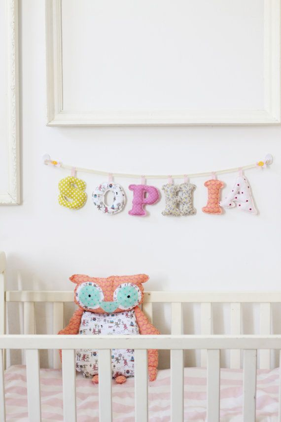 6 letters girls room name banner / Made To Order - Baby Girl Name wall Decor. $60.00, via Etsy.