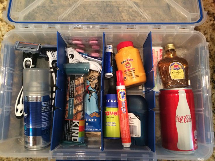 Groom's Wedding Day Survival Kit! I put all the necessities in a tackle box because he loves to fish.
