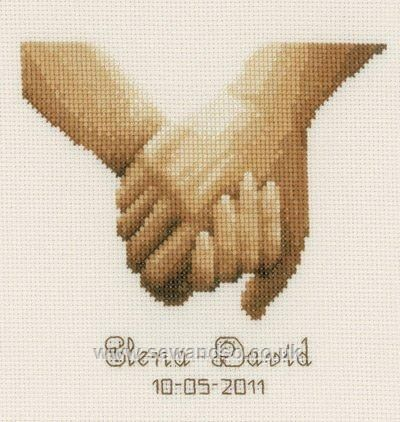 Holding Hands Wedding Sampler - Sew and So - Vervaco