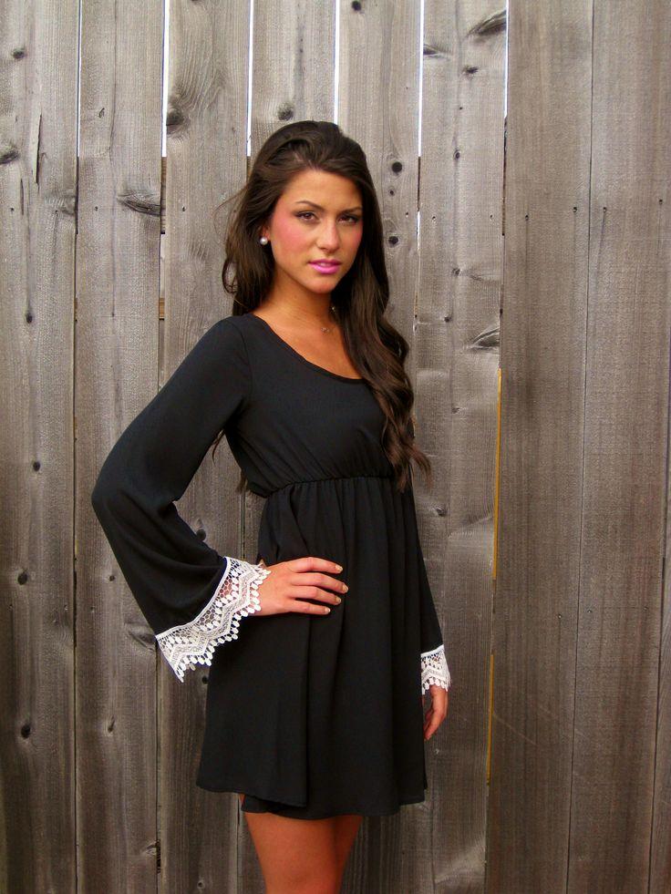 Black Dress with White Crochet Sleeves