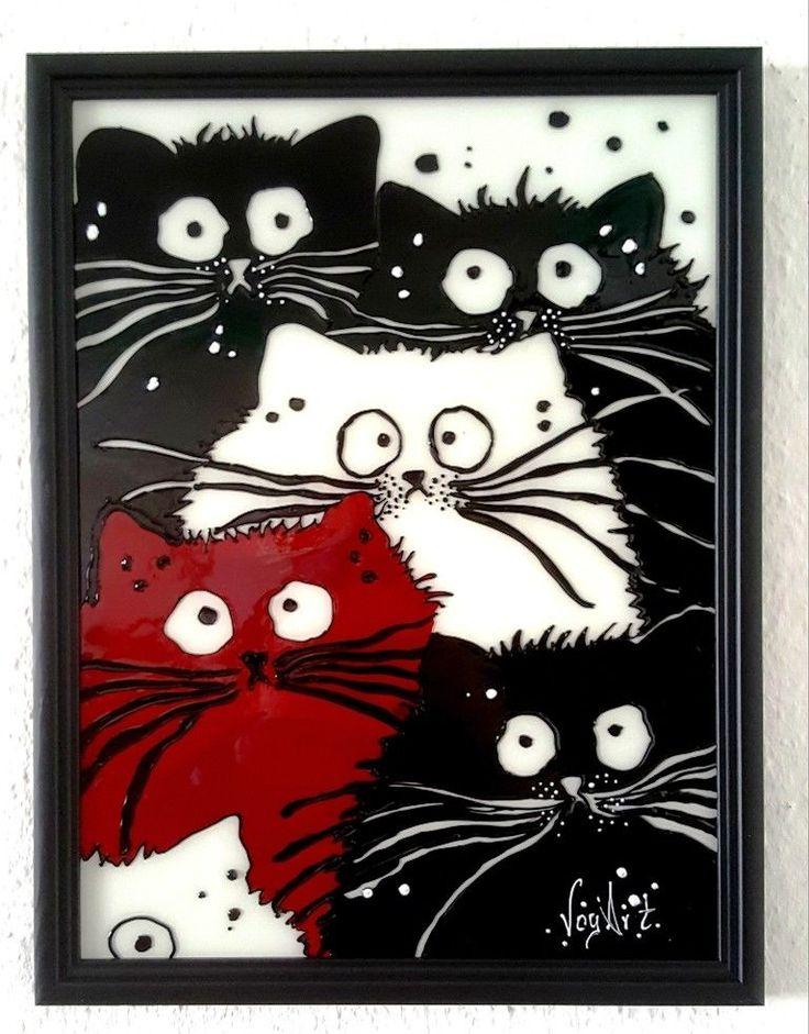 Katze-Katzen. Glasmalerei Bild