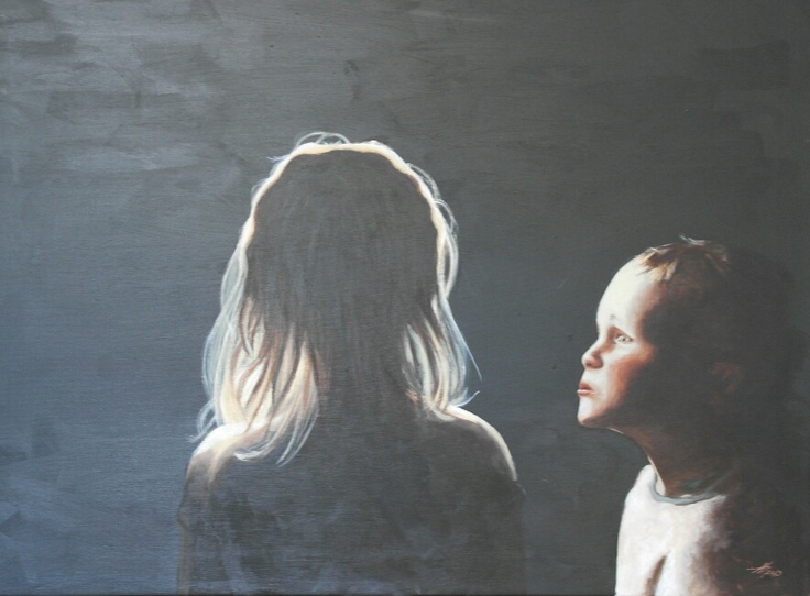 I have painted a portrait of my children. It should not really have been a portrait, but it evolved in that direction. It is Jakob 3 years old and Cecilie of 5 years.