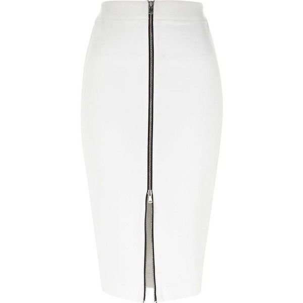 River Island White silver zip front pencil skirt (9.810 HUF) ❤ liked on Polyvore featuring skirts, bottoms, white, sale, front zipper skirt, river island, silver skirt, white skirt and zip front skirt