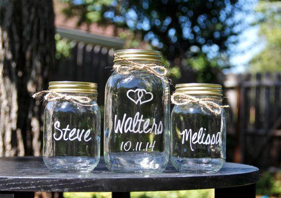 3 Mason Jars, Sand Ceremony, Unity Jars, Mason Jars, Personalized, Weddings, Custom Glass