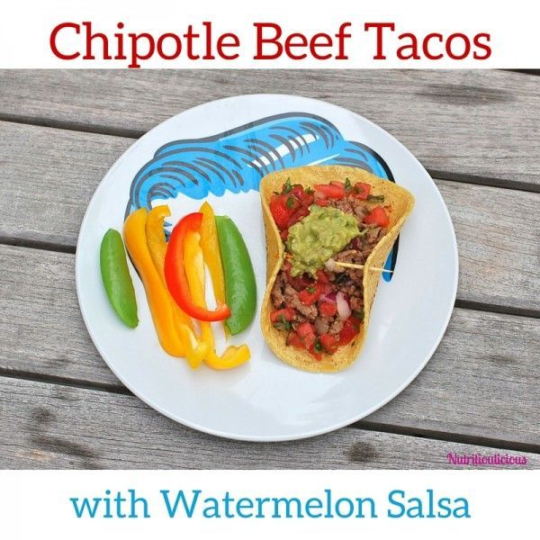 Smoky chipotle beef fills corn tortillas and is topped with cool and refreshing watermelon salsa and guacamole. @JlevinsonRD