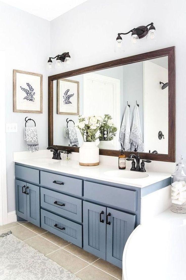 Big Mirror Blue Gray Vanity Bathroom Remodel Master Small Farmhouse Bathroom Farmhouse Bathroom Decor