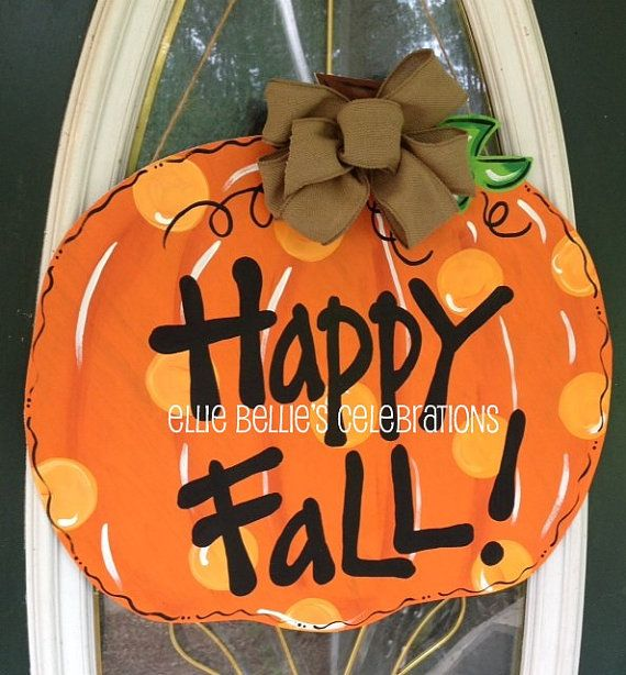 Sweet Fall pumpkin measures 23 X 22. Topped with a cute burlap bow and ready to hang! Can be personalized with family name or monogram. Just