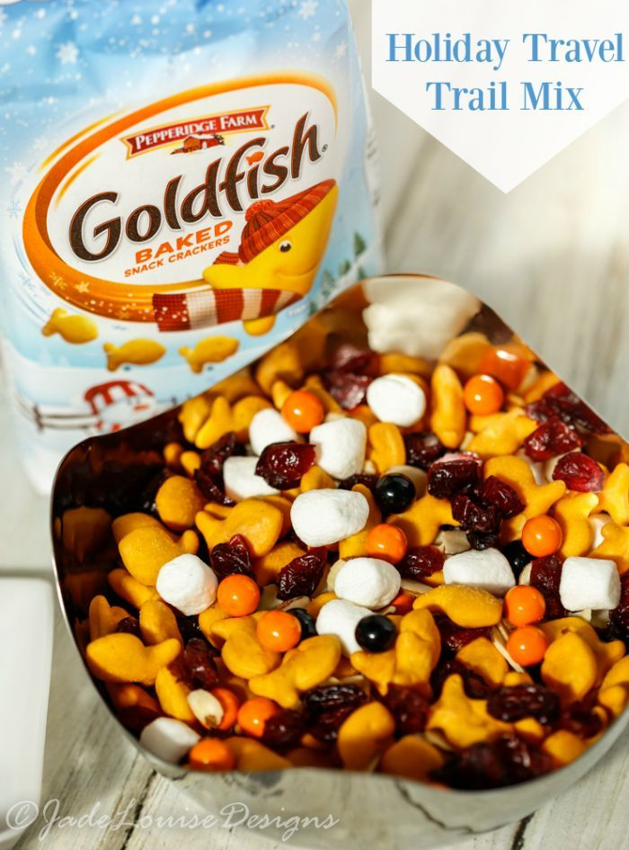 Goldfish Snacks Trail Mix for Fun Holiday Travel, a fun and easy snack mix thrown together to make a great snack for on the go or at the park! Kids and adults love it! #GoldfishCrowd AD