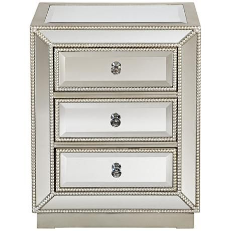 """Trevi 20"""" Wide 3-Drawer Mirrored Accent Table - #8K074 