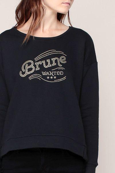 Sweat noir imprimé texte paillettes dorées Blonde et Brune - Blune Paris
