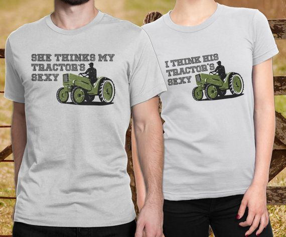 Matching couple shirts, Country music shirts, Kenny Chesney, Couple shirt design, Country music, couple shirt set, Cute couple shirts  This tank top is perfect for the country couple. Inspired by Kenny Chesneys She thinks my tractors sexy.  This listing includes a man and a woman�s shirt in your choice of matching color. Mens Shirt says She thinks my tractors sexy Womans Shirt says I think his tractors sexy HOW TO ORDER: ----------------------- - Select womans size AND color from the first…