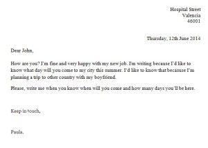Carta informal en inglés