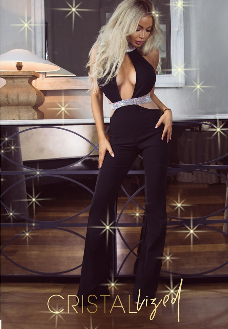 "Super lavish our 'DIAZ' tailored jumpsuit has been crafted from a lightweight stretch crepe and features a flattering cut-out waist with crystallised chocker, nipped crystallised waistline and flare pants. Back zipper for easy on and the top is lined for comfort and a great fit. Ooze glamour and sophistication with this sex yet lavish statement piece. Ultra flattering, the tailored pants give a perfect hour-glass shape. Get ready to slay the 'LUX'MAS"" #HouseofMAguie"