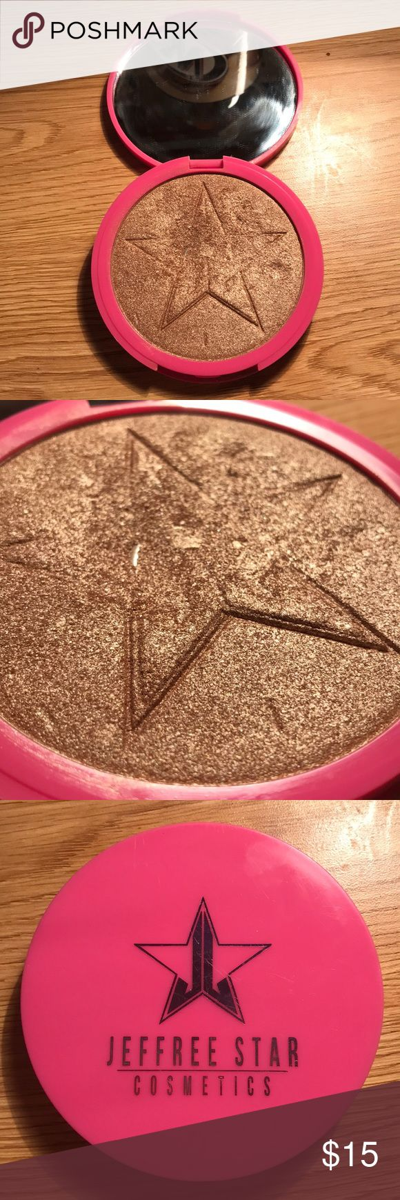 Jeffree Star Cosmetics SkinFrost in King Tut Used until people informed me it was too dark for my skin. Hit pan in one portion and one chunk missing because of dropping (also why compact is wiggly). Still a lot of product to spare and usable for someone who would find it more flattering. Dying to get rid of! Jeffree Star Makeup Luminizer