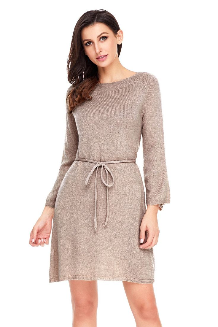 Robe Pull Femme Kaki Tricot Manches 3/4 Hiver Pas Cher www.modebuy.com @Modebuy #Modebuy #Abricot #style #occasion #styles #mode