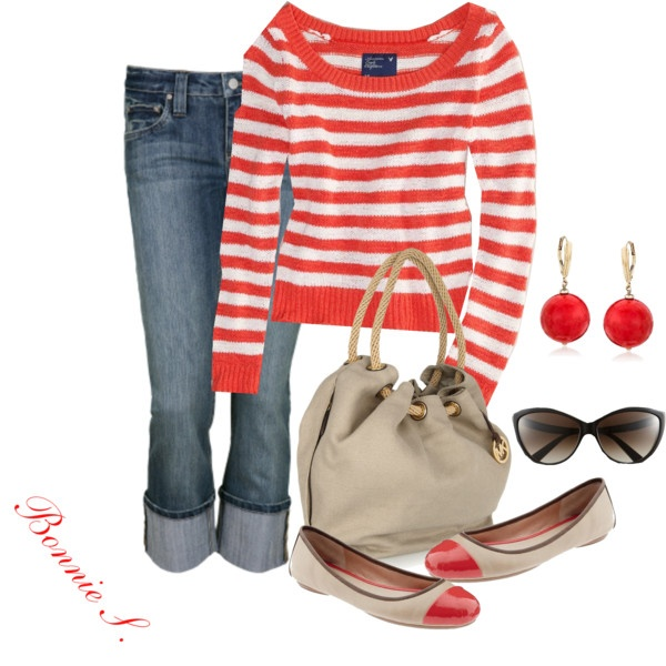 redShoes, Sweaters, Casual Outfit, Red, Clothing, Fall Outfit, Polyvore, Stripes, Dreams Closets