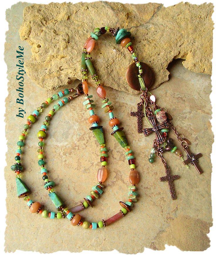 Bohemian Necklace, Copper Crosses, Long Colorful Beaded Necklace, Boho Style Fashion Jewelry, BohoStyleMe, Kaye Kraus by BohoStyleMe on Etsy