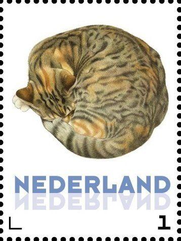 Stamp: Domestic Cat (Felis silvestris catus) (Netherlands - Personalized stamps) (Cats, Francine van Westering) Col:NL 2015-261