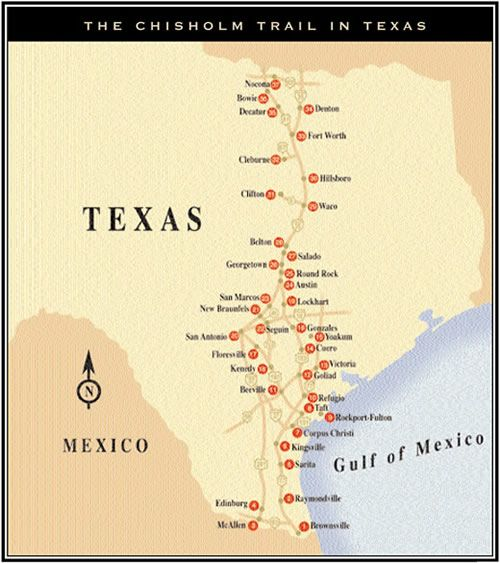 The Chisholm Trail in Texas:Today, some historians consider the Chisholm Trail to have started at Donna, Texas or at San Antonio, Texas. From 1867 to 1871, the trail ended in Abilene, Kansas. Later, Newton, Kansas, and Wichita, Kansas, each served as the end of the trail. From 1883 to 1887, the end of the trail was Caldwell, Kansas. Ellsworth, Kansas, is also considered a major influence of the trail.