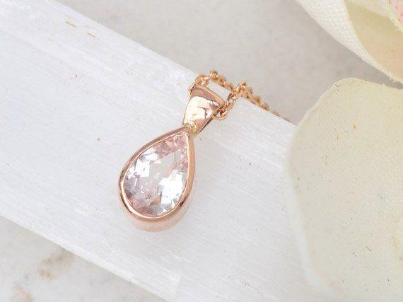 Pink Peach Sapphire Tear Drop Layering Necklace in 14k Rose Gold #Handmade_gold #Handmade_necklace #Jewe
