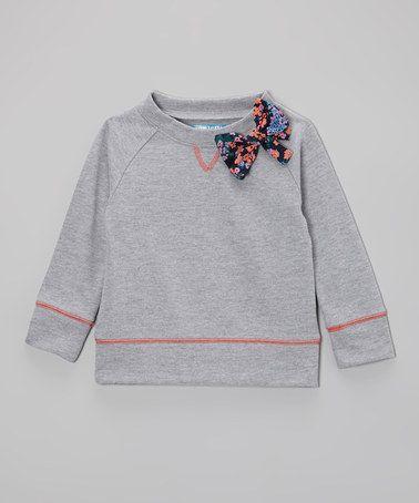 Loving this Light Heather Floral Bow Sweatshirt - Toddler & Girls on #zulily! #zulilyfinds
