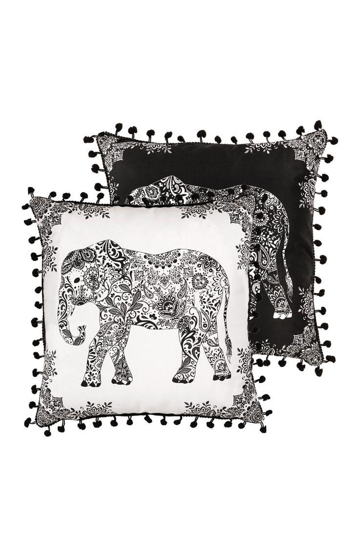 Primark - Kissen mit monochromem Elefantenmuster