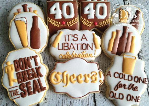 One Dozen 12 Beer Themed 40th Birthday by DolceCustomCookies