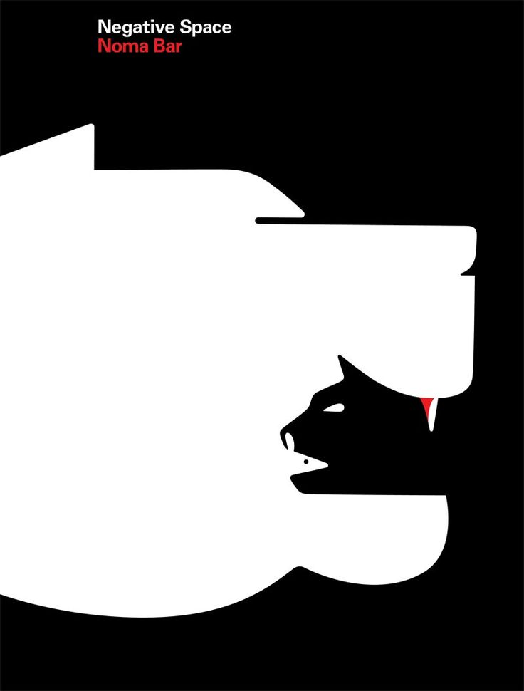 graphic design by Shigeo FUKUDA, Japan Negative space was utilized in this design to create the image here in which the audience can distinguish one large animal sinking its teeth into the smaller one.