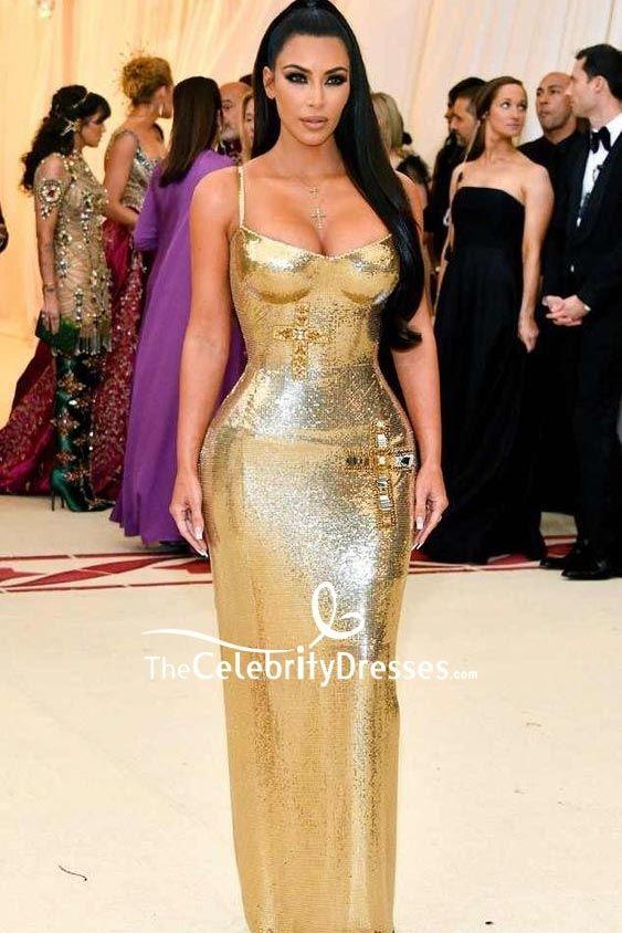 7bbef944a95 Kim Kardashian Gold Sequin Formal Dress 2018 Met Gala TCD8226 in 2019