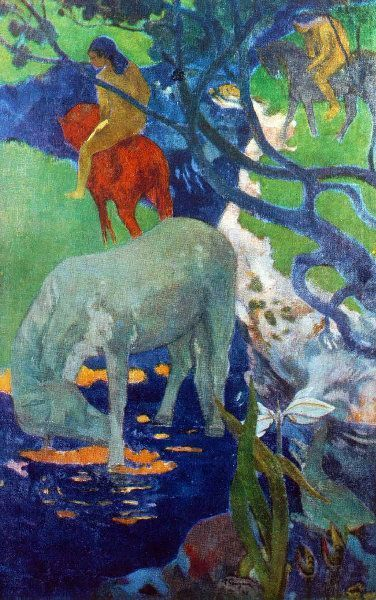 Paul Gauguin,  Tahiti - The white horse -Le cheval blanc - 1898. on ArtStack #paul-gauguin #art