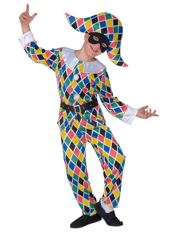 Dit multikleurig harlekijnkostuum voor kinderen zal ideaal geschikt zijn als carnavalskleding met Italiaans thema! - Nu verkrijgbaar op Vegaoo.nl