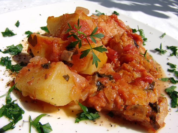 Cod in Tomato Sauce with Potatoes | Greek Food | Pinterest
