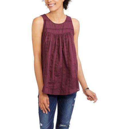 Faded Glory Women's Eyelet Sleeve Top, Size: Small, Purple