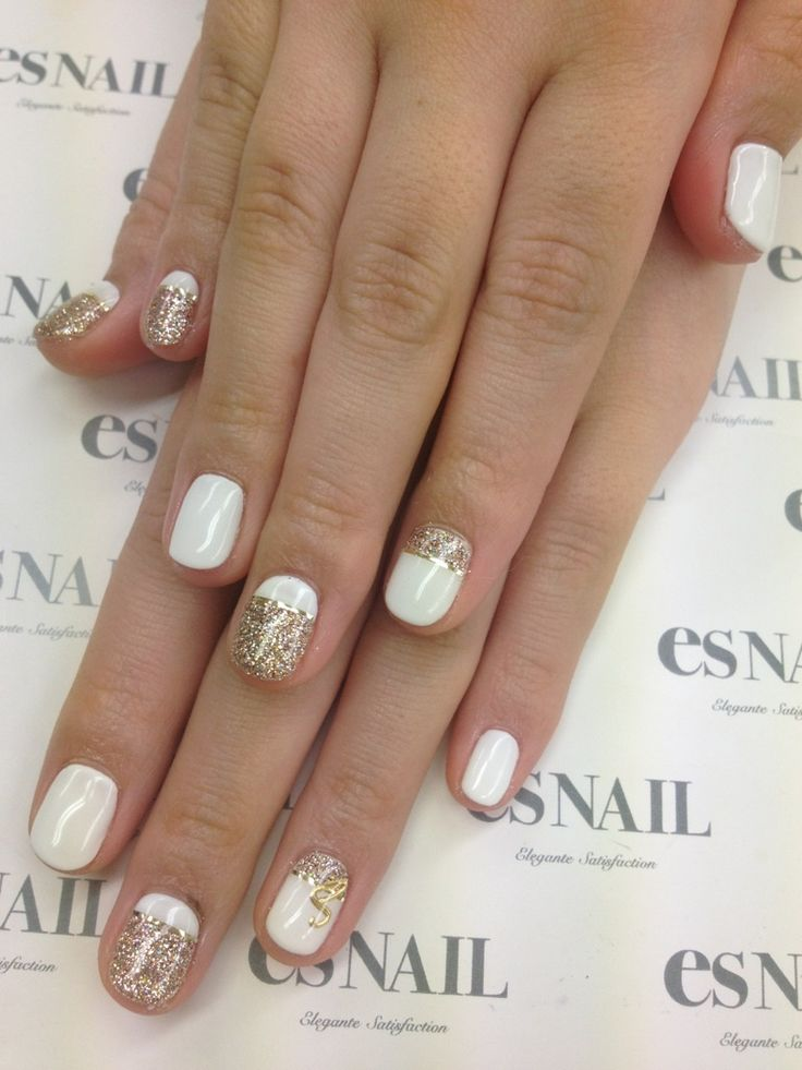 White & Gold Nail Design — When your'e looking for something a little fancy! #nails #beauty