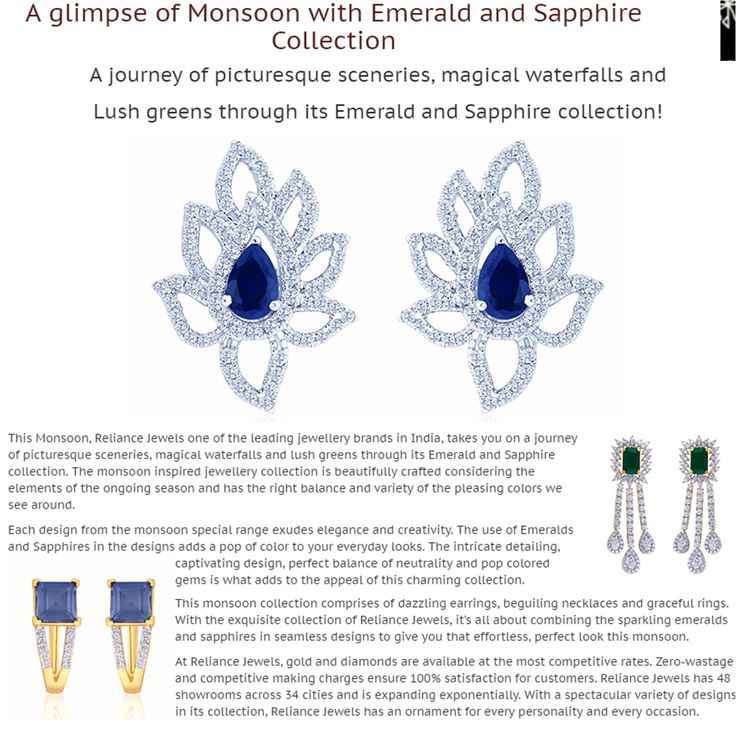As seen in G J Hubindia PVT LTD of Gems & Jewellery company  A glimpse of Monsoon with Emerald and Sapphire Collection  http://bit.ly/29JU0ID  www.reliancejewels.com  #reliancejewels #bethemoment #gold #earrings #necklace #jewellery #GJHubIndia #magazine #advertorial