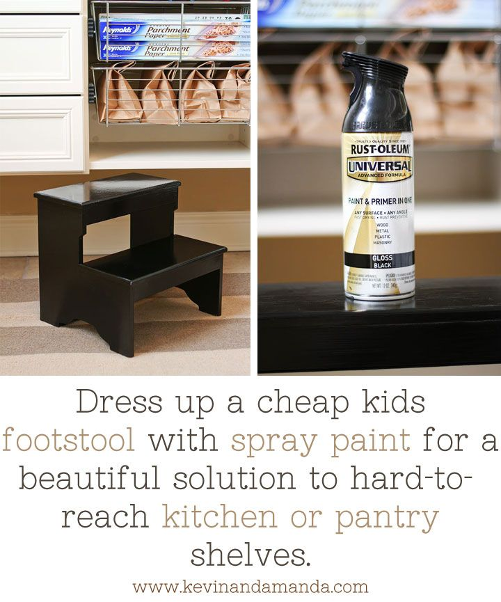 Dress up a cheap kids footstool with spray paint for a beautiful solution to hard-to-reach kitchen or pantry shelves.