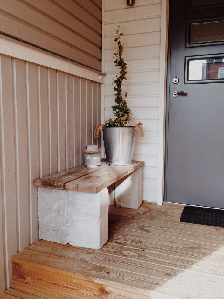 gör en enkel bänk av plank o mursten själv