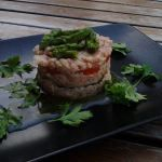 Tartare di salmone affumicato con verdure bollite
