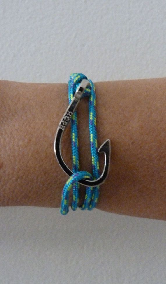 fish hook bracelet paracord bracelet rope by beachcombershop