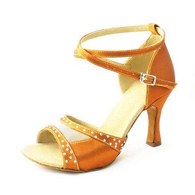 Customizable Women's Dance Shoes Latin Satin Customized Heel Black/Blue/Brown/Yellow/Pink/Purple/Red/White/Fuchsia/Other – GBP £ 21.89