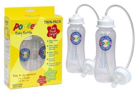 Hands-Free Feeding For Babies. Feed your baby while you take a shower? This could come in handy for mothers of multiples. Gets my vote.