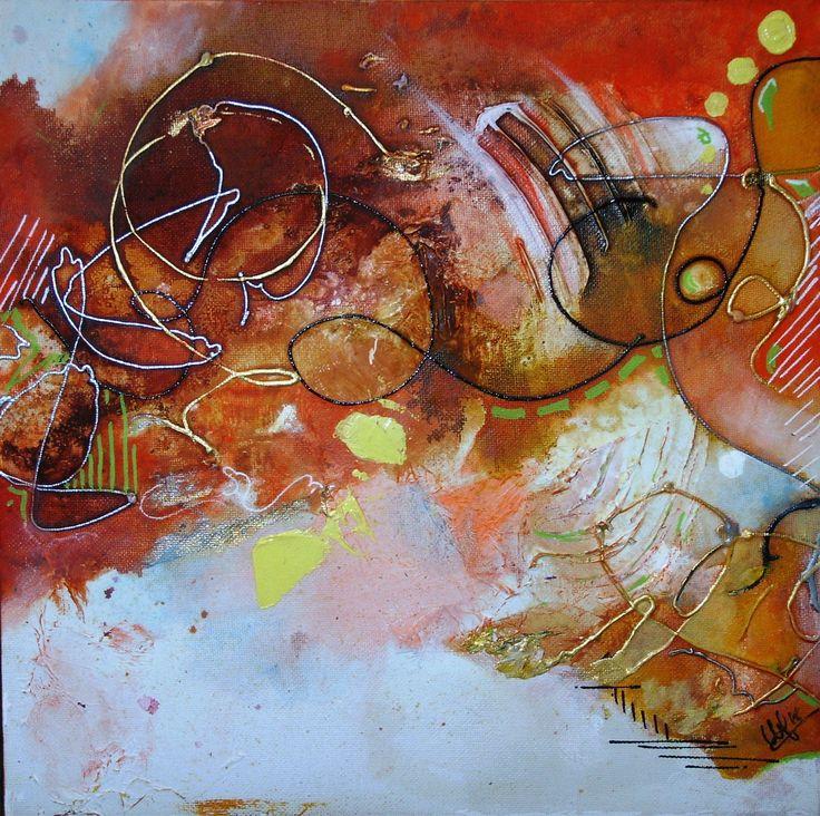 série 4 toiles - les couleurs de l'automne  40 x40 - Orange