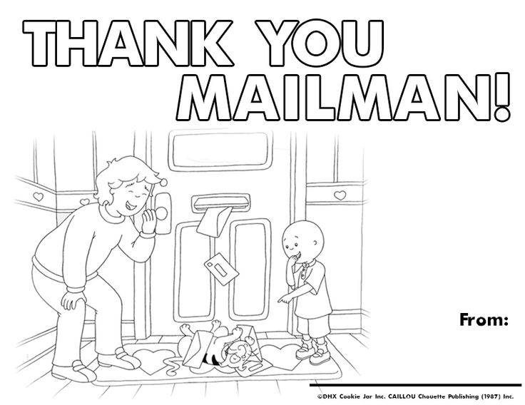 Celebrate Mailmen with this adorable Caillou coloring