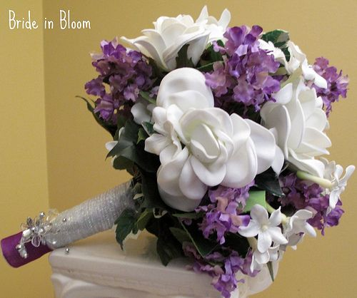 Gardenia & lavender bridal bouquet, I love this flower combination! I bet they would smell wonderful too! :-)