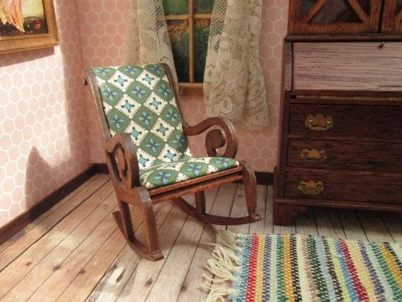Vintage Dollhouse Furniture - Lynnfield Rocking Chair with Geometric Print Upholstery - Block House - One Inch Scale