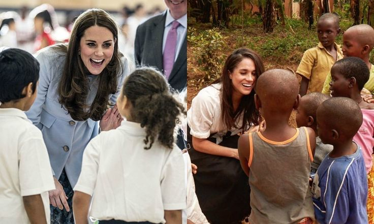 """Charitable and maternal  When it comes to their charity and humanitarian work, both the Duchess and actress have proven to be naturals working with children. Prince George's mom has met with numerous children over the years as part of work with mental health and hospices. Meanwhile, Prince Harry's girlfriend showed off her maternal side during a visit to a refugee camp in Rwanda as part of her work as a UN Women advocate. Describing her humanitarian work, Meghan has said, """"I've never wanted…"""