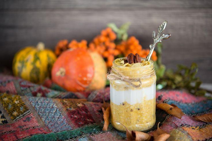 Overnight pumpkin coconut oats in jar/Овсянка с кокосом и тыквой в банке