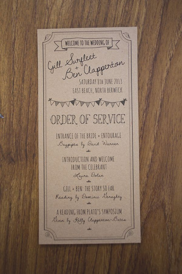 Oena and ink on kraft paper order of service. Photography by www.sallytphotography.com