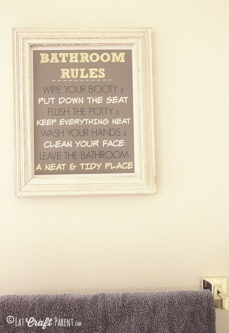 Bathroom rules printable for kids free home decor for Bathroom decor rules