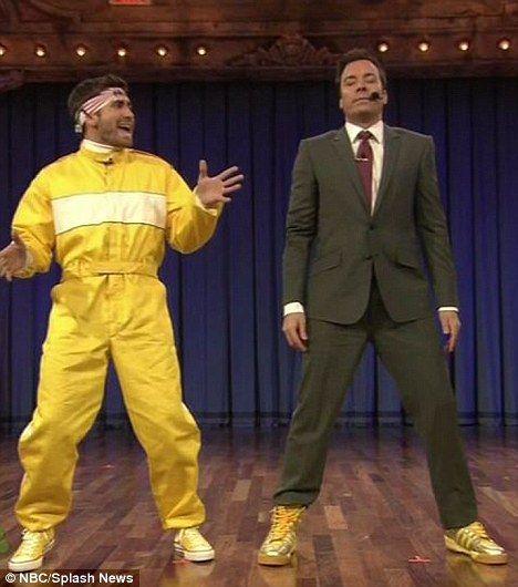 Rapping genius! Jake Gyllenhaal and Jimmy Fallon hit the dancefloor last night as 'The Banana Boyz'